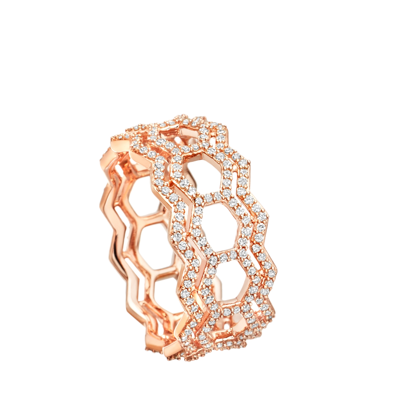 Double Varro Honeycomb Diamond Ring