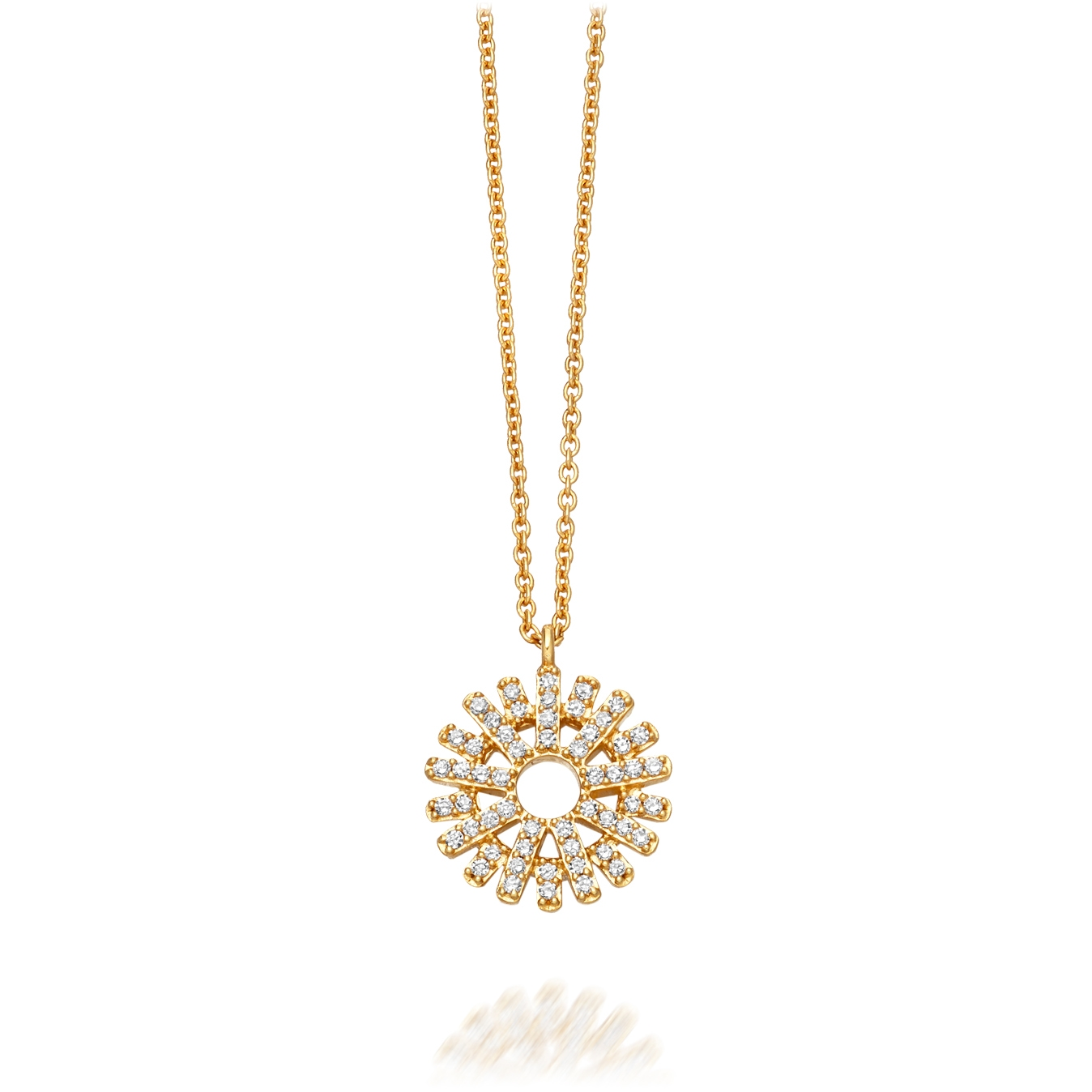 Rising Sun Diamond Pendant Necklace
