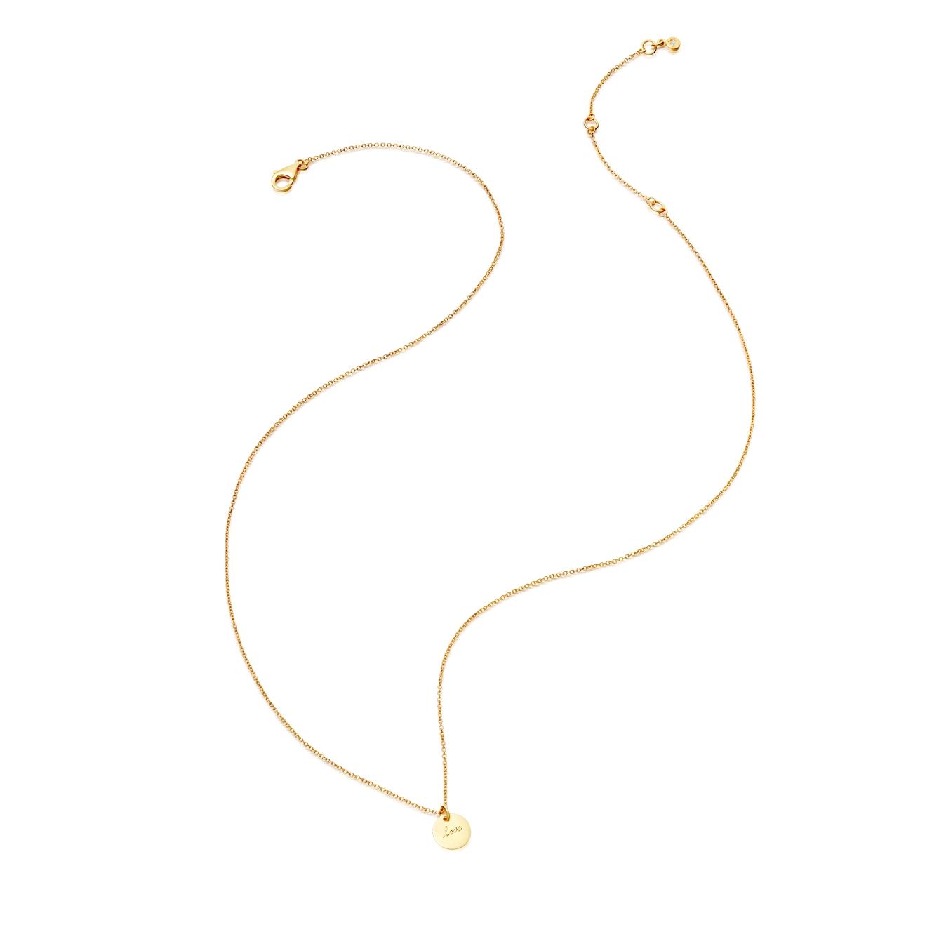 Tiny Love Disc Pendant Necklace