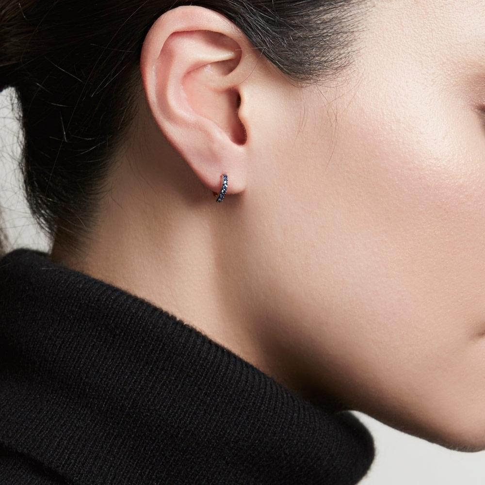 Mini Halo Sapphire Single Hoop Earring