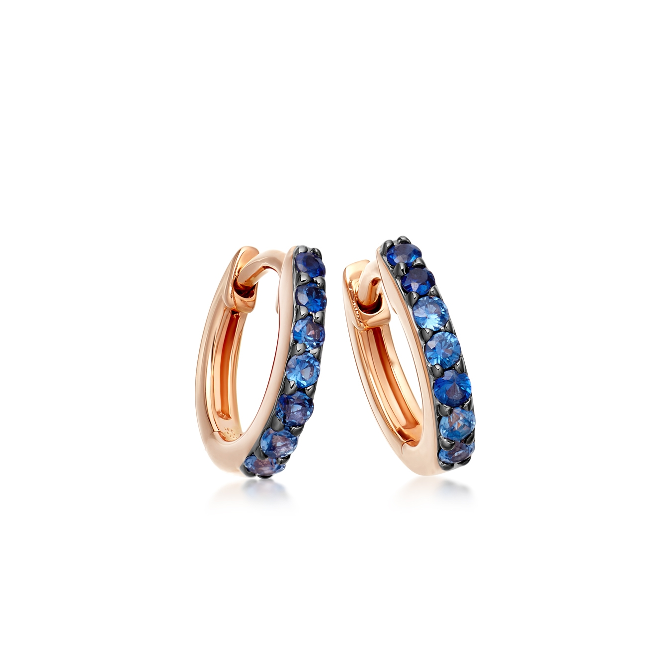 Mini Halo Sapphire Hoop Earrings