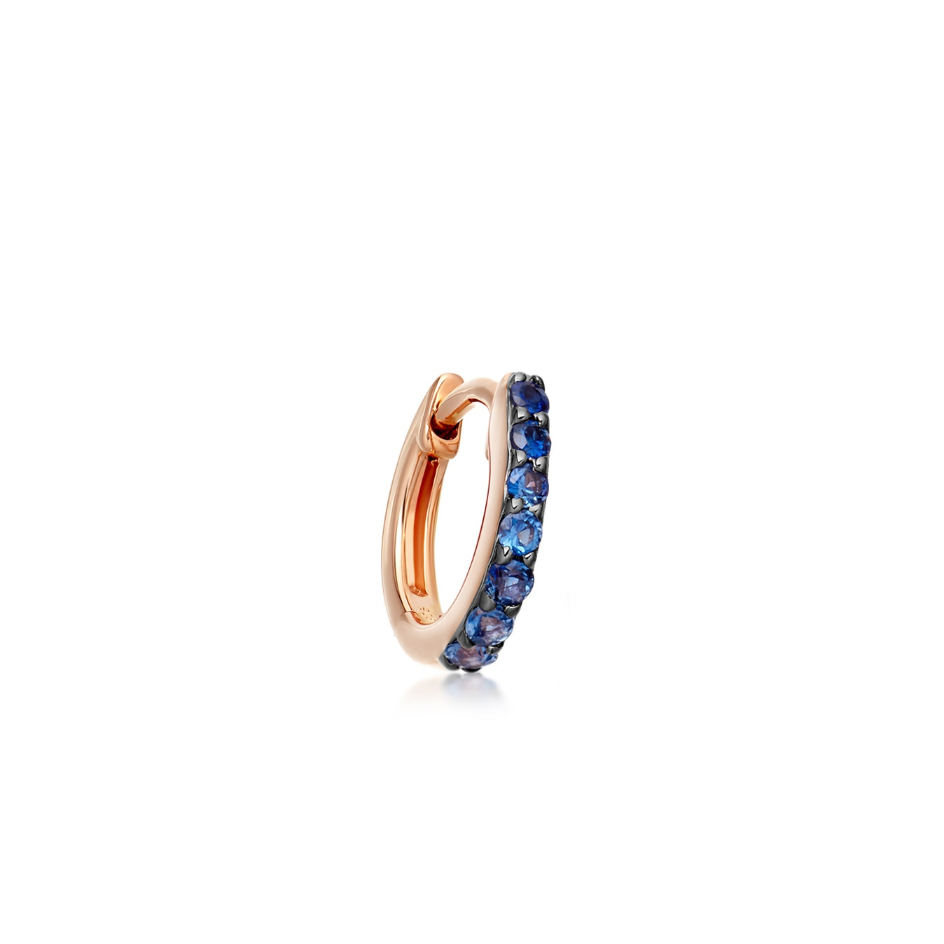 Mini Halo Sapphire Single Hoop Earring
