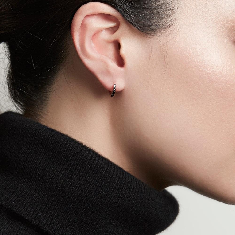 Mini Halo Black Diamond Single Hoop Earring