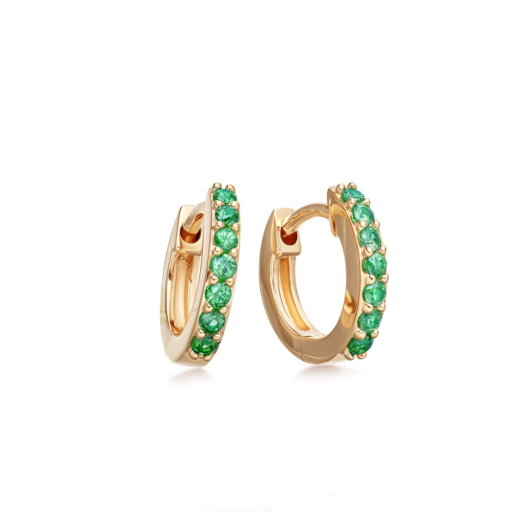 Mini Halo Emerald Hoop Earrings