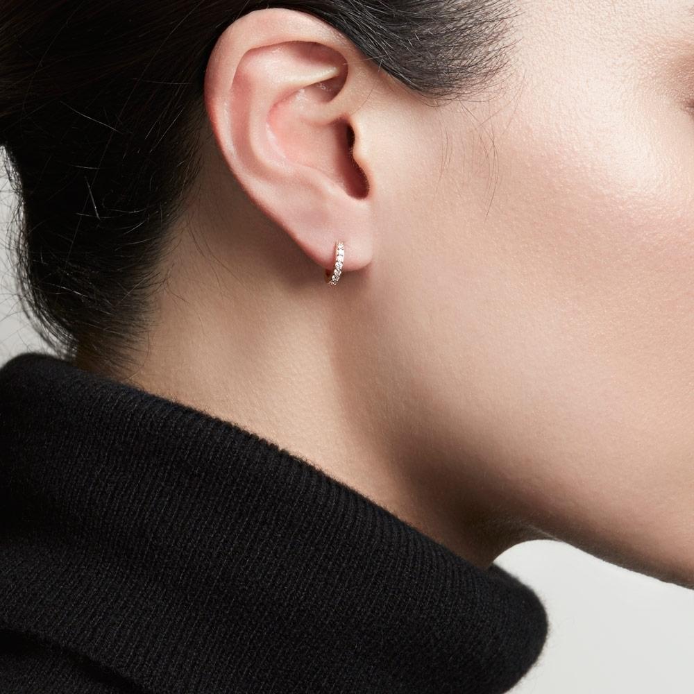 Mini Halo Diamond Single Hoop Earring