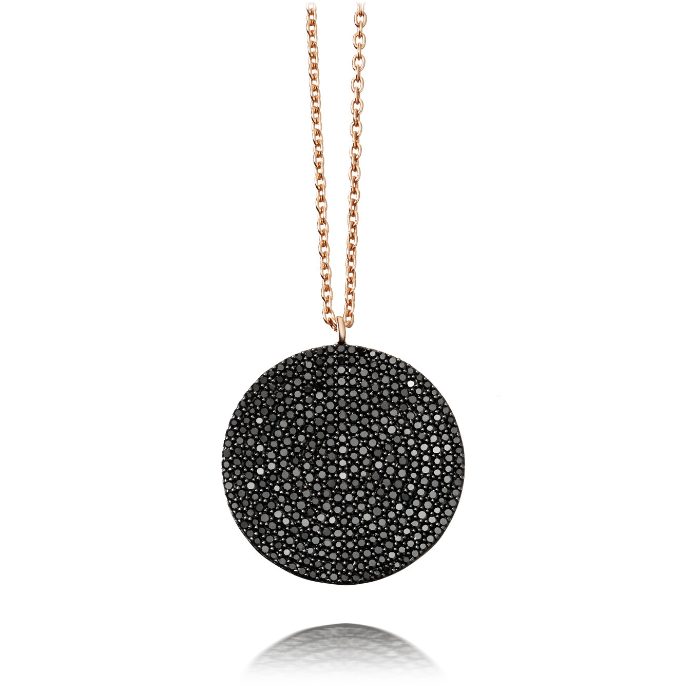 Large Icon Black Diamond Pendant Necklace