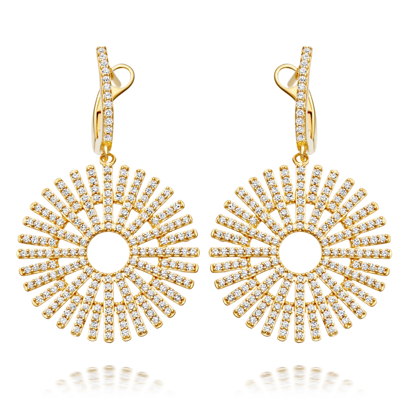 Large Rising Sun Diamond Earrings