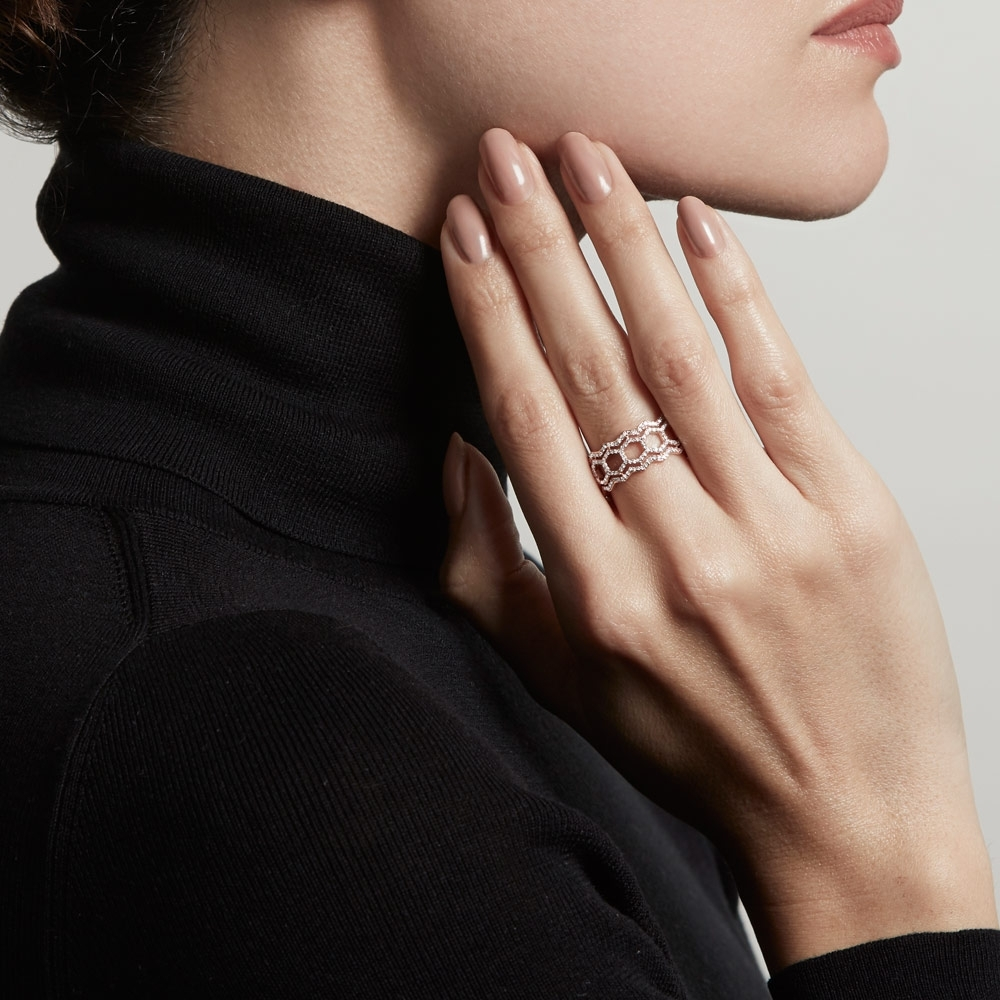 Double Varro Honeycomb Diamond Ring