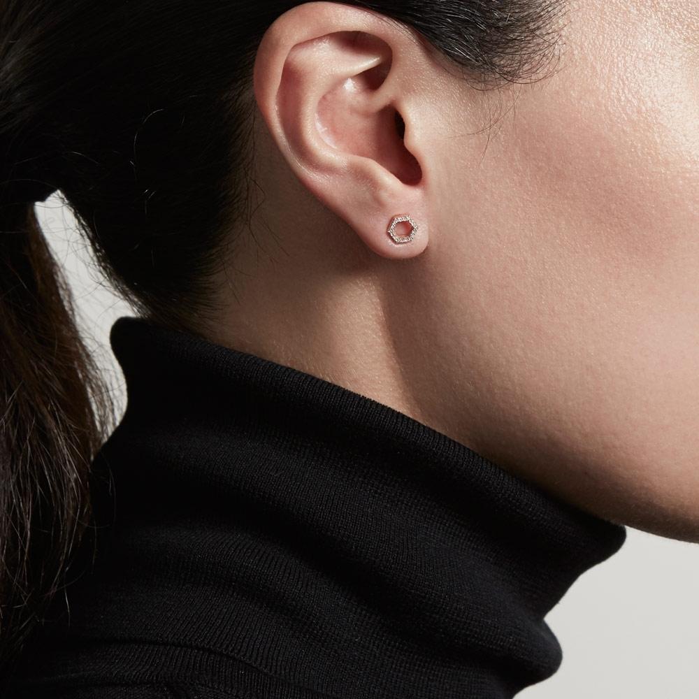 Honeycomb Diamond Stud Earrings