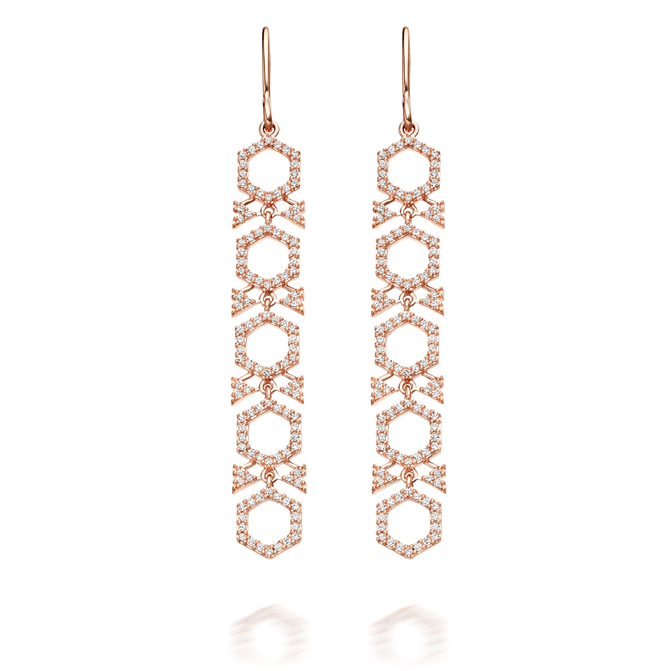 Large Varro Honeycomb Diamond Drop Earrings