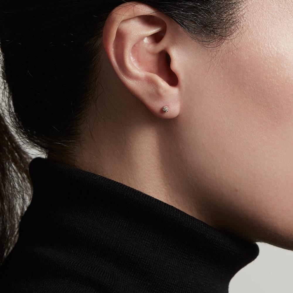 Pavé Ball Halo Diamond Single Stud Earring