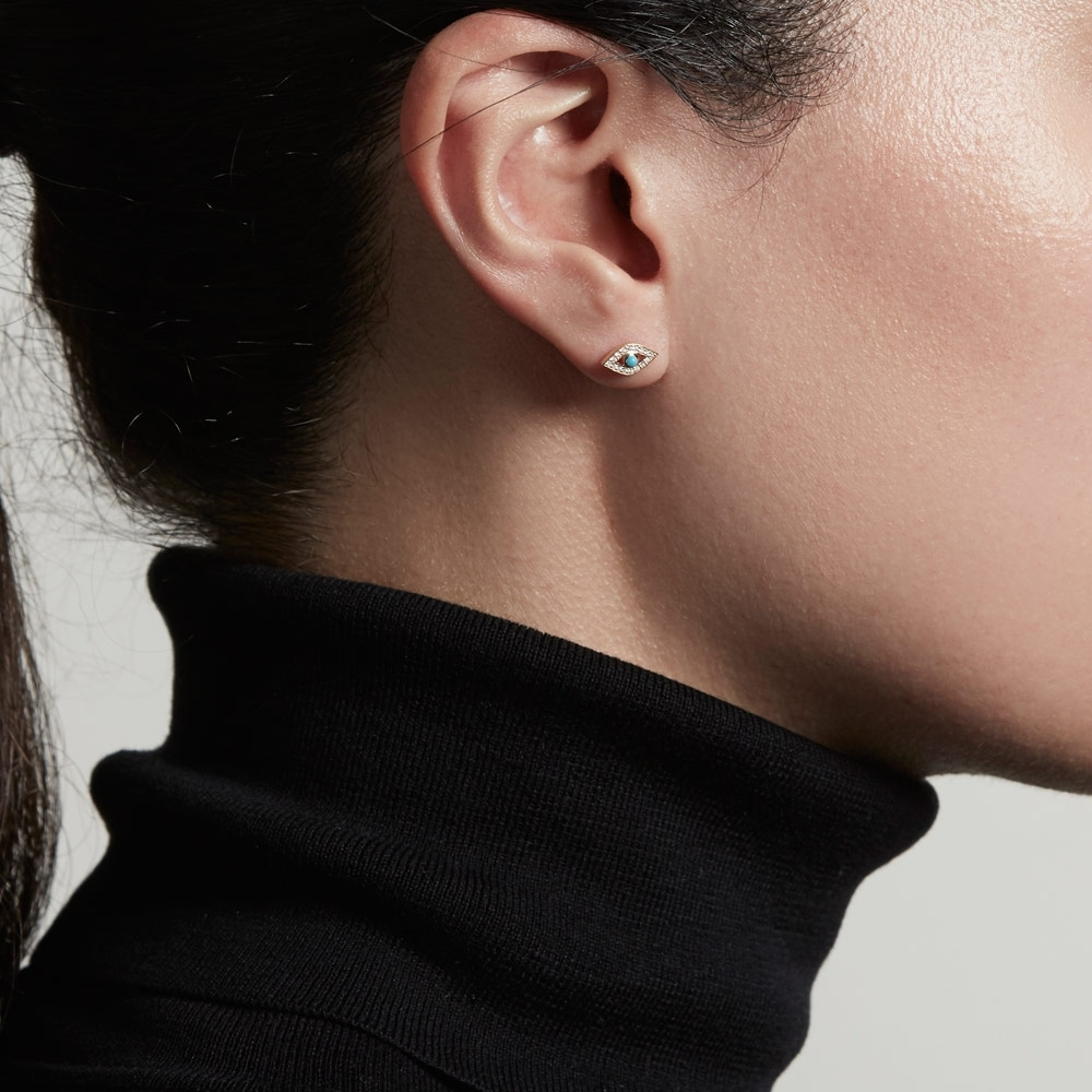 Mini Evil Eye Biography Single Stud Earring
