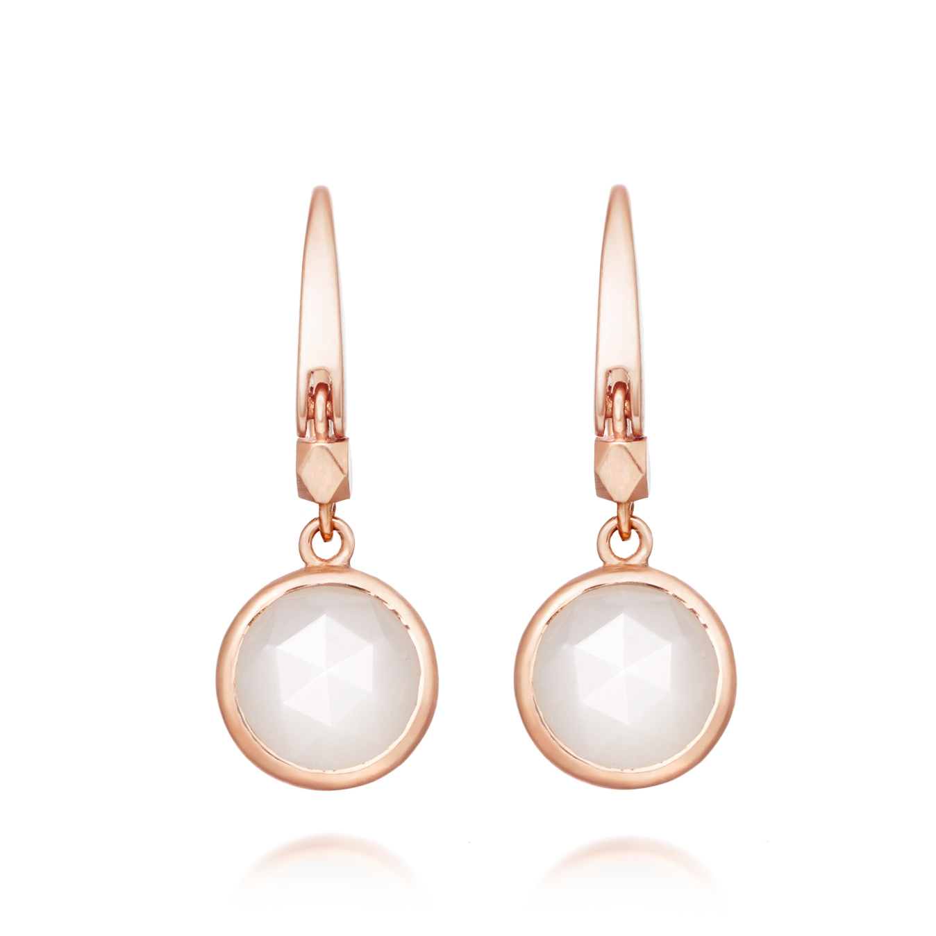 Mini Moonstone Round Stilla Drop Earrings