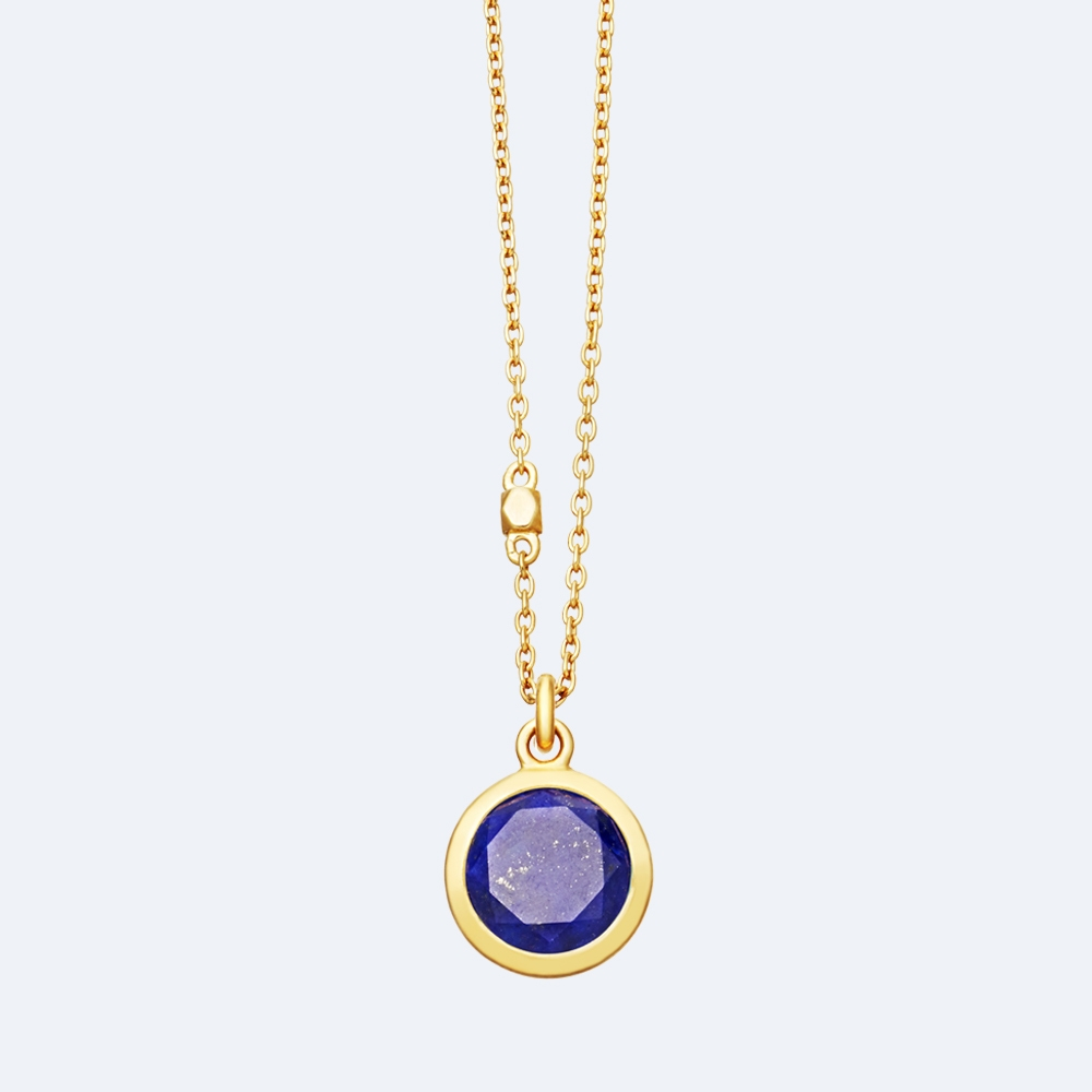 Round Lapis Stilla Pendant Necklace