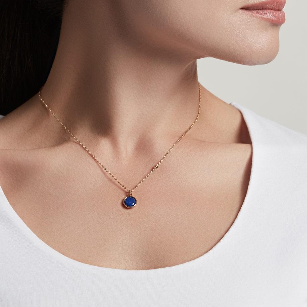 Round Lapis Stilla Pendant Necklace