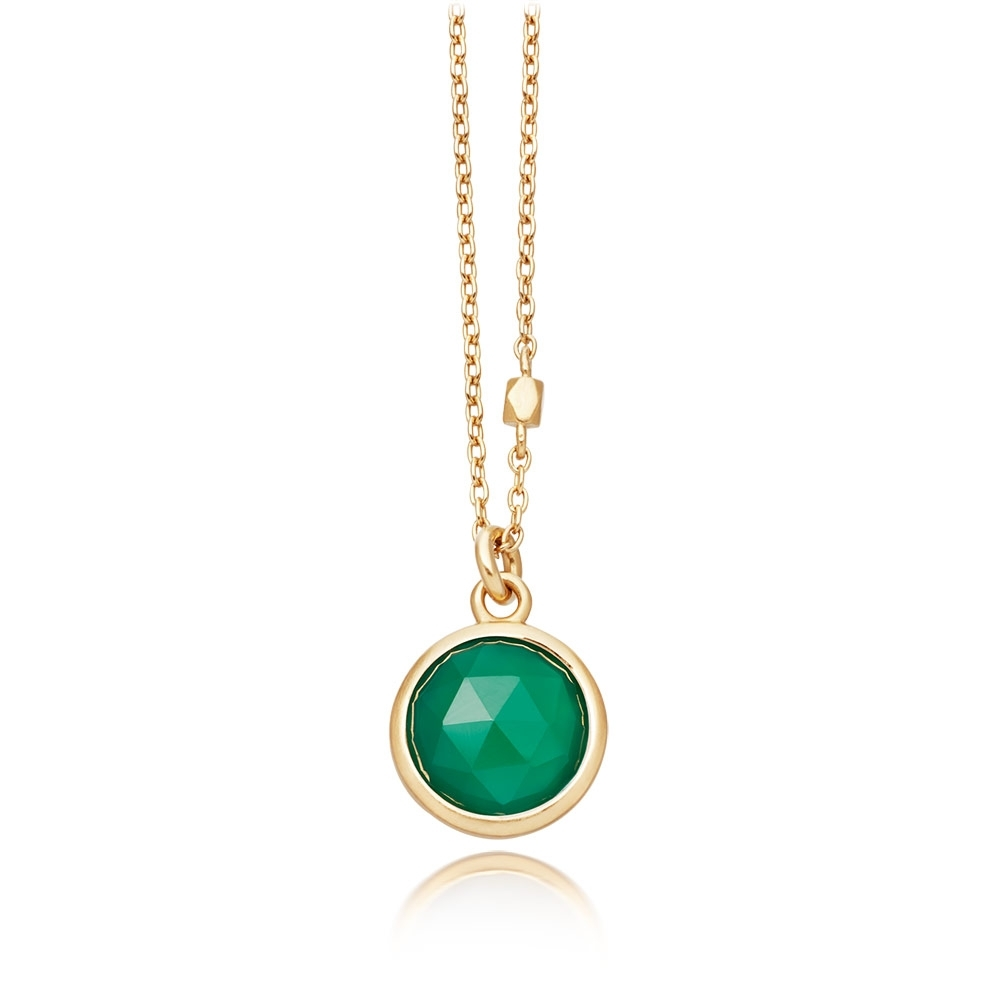 Stilla Green Onyx Round Pendant Necklace