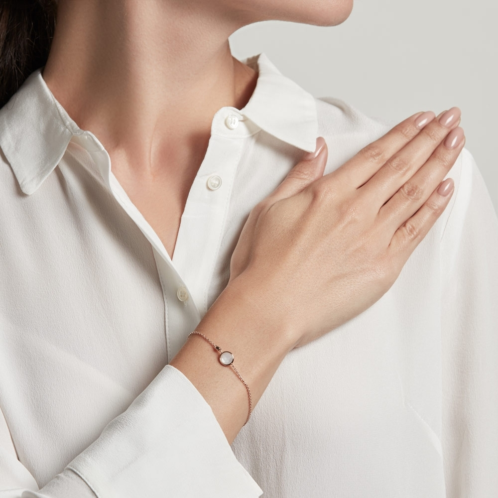 Mini Moonstone Round Stilla Bracelet