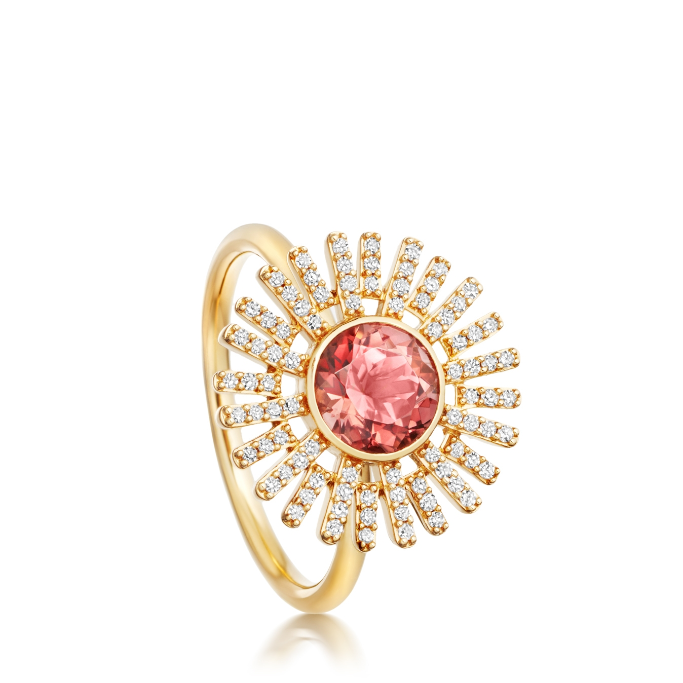 Pink Tourmaline Setting Sun Ring