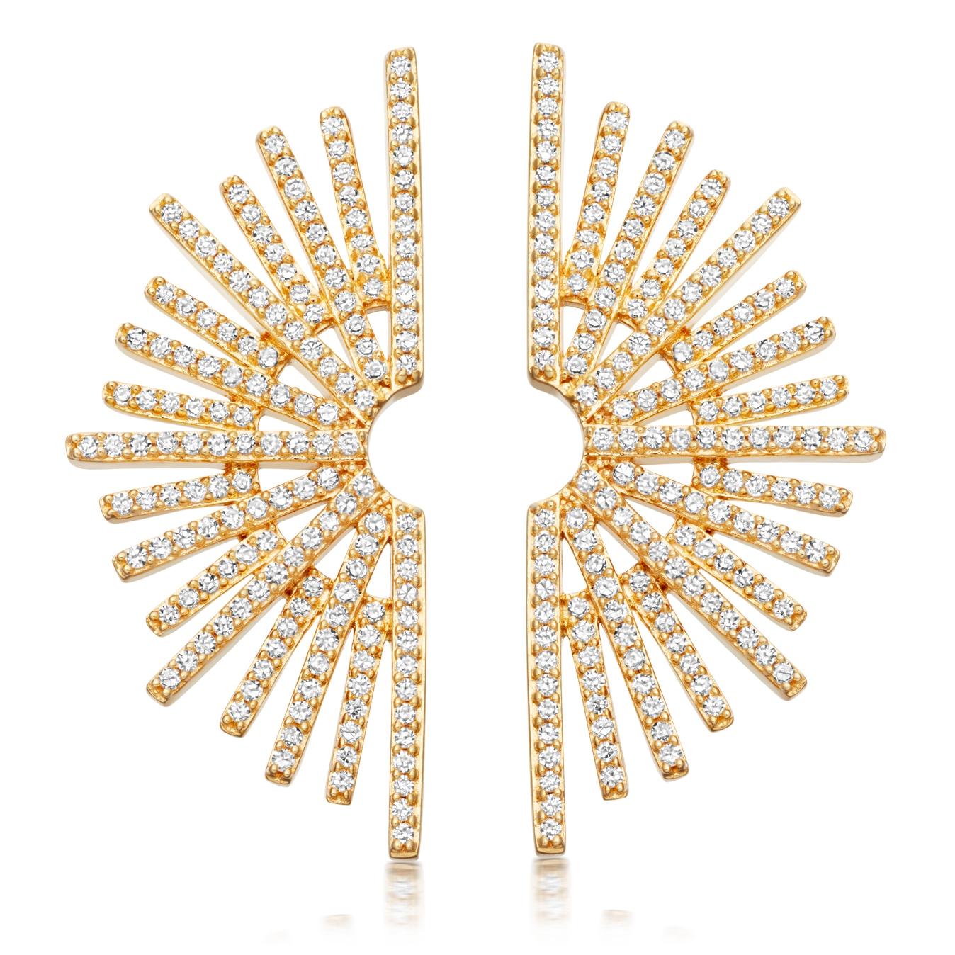 Large Setting Sun Diamond Stud Earrings