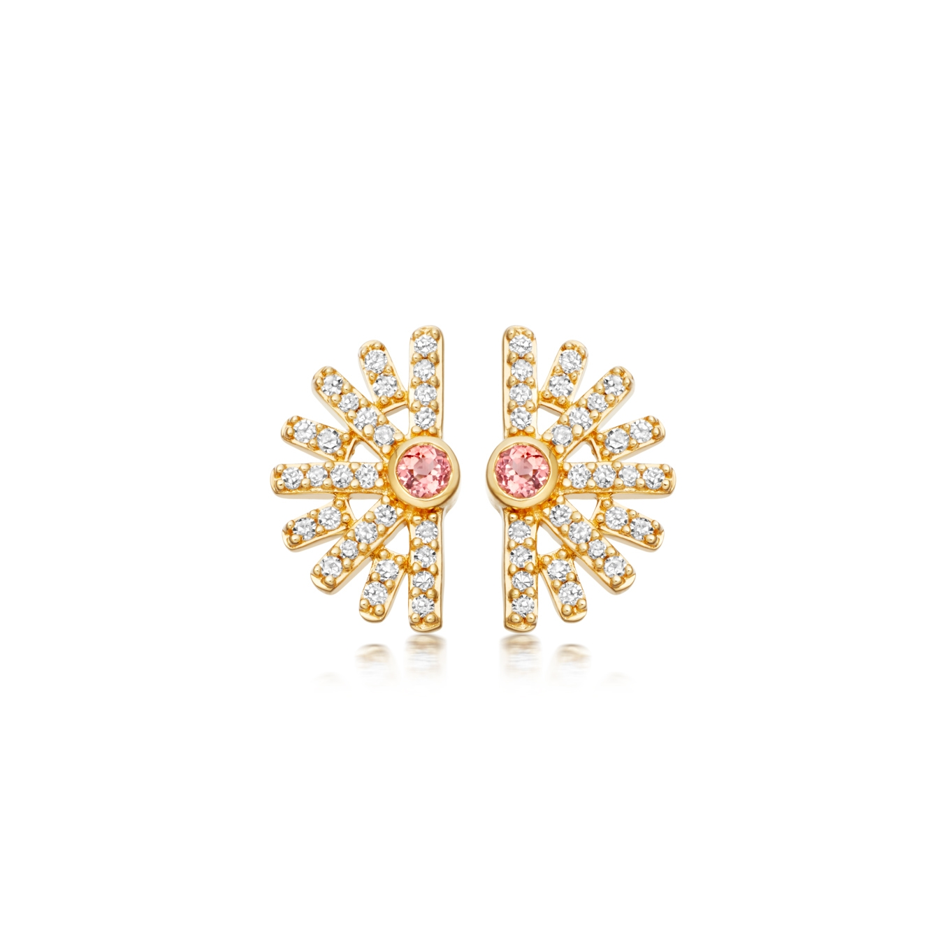 Setting Sun Stud Diamond Earrings