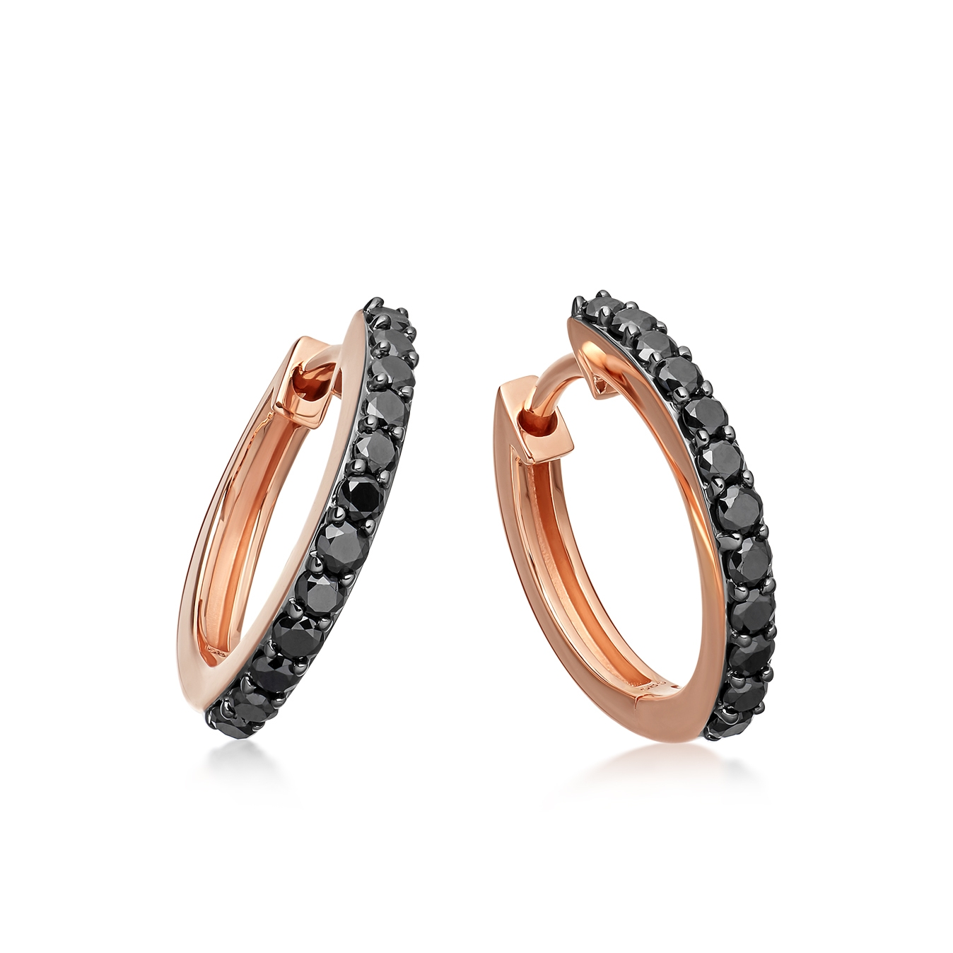 Medium Halo Black Diamond Hoop Earrings