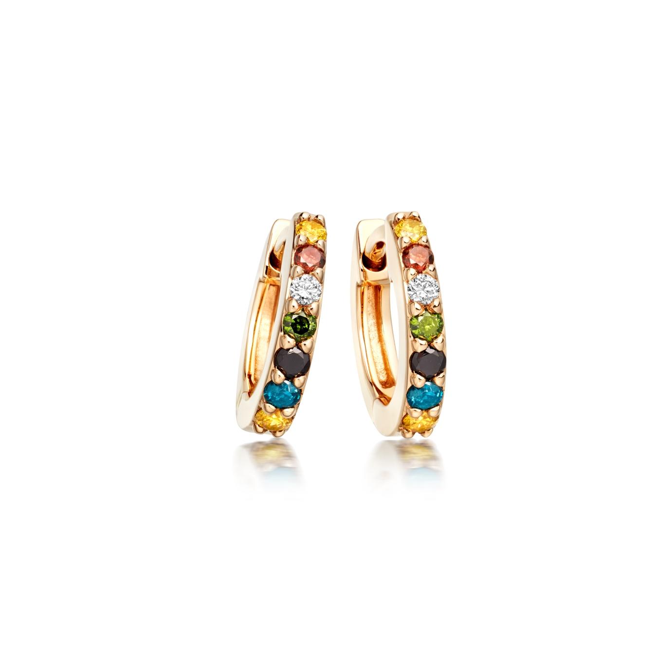 Mini Coloured Diamond Halo Hoop Earrings