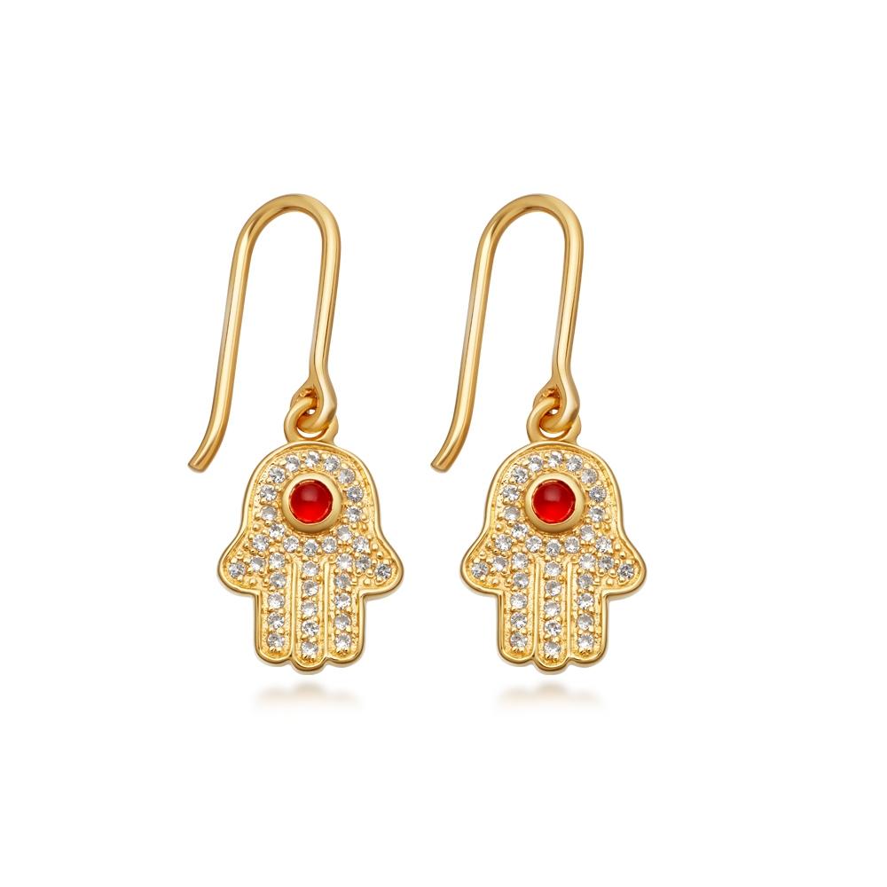 Hamsa Biography Drop Earrings
