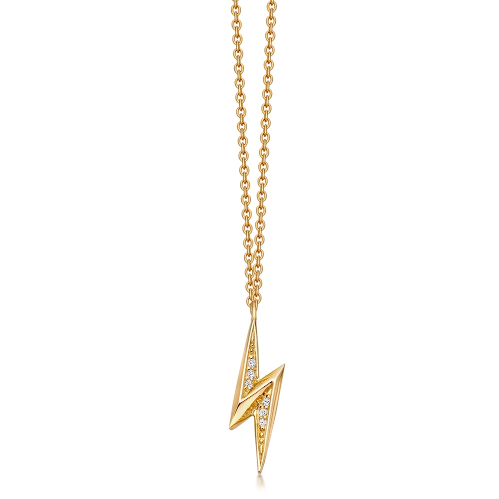 Mini Lightning Bolt Biography Pendant Necklace