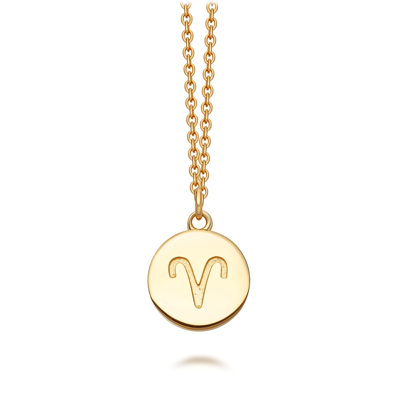 Gold Aries Zodiac Biography Pendant Necklace