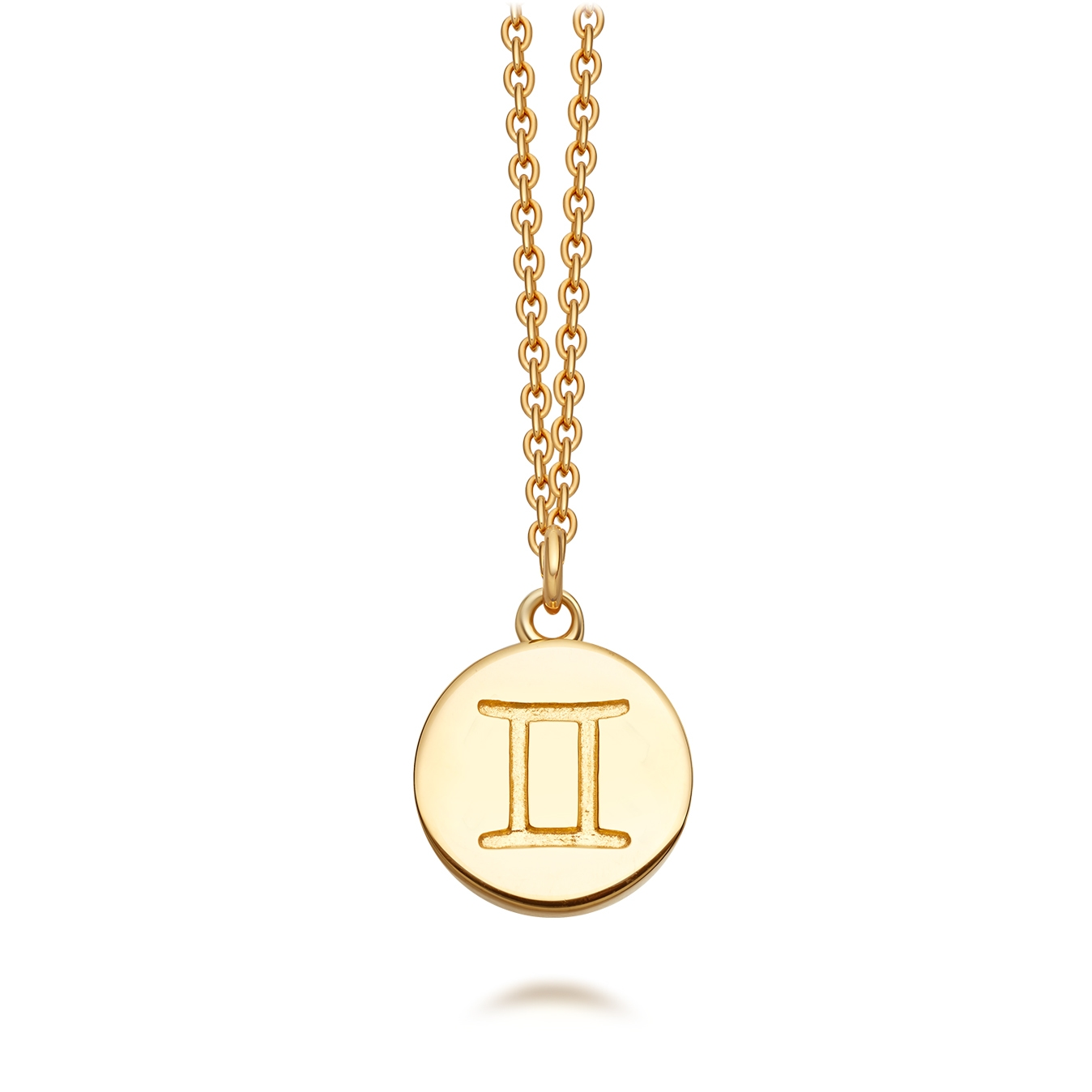 Gold Gemini Zodiac Biography Pendant Necklace