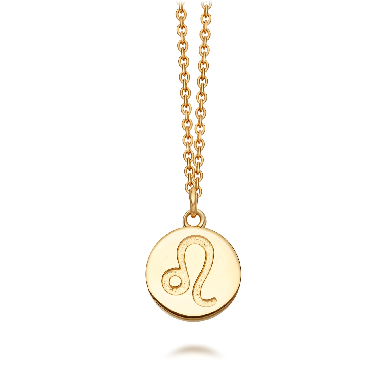 Gold Leo Zodiac Biography Pendant Necklace