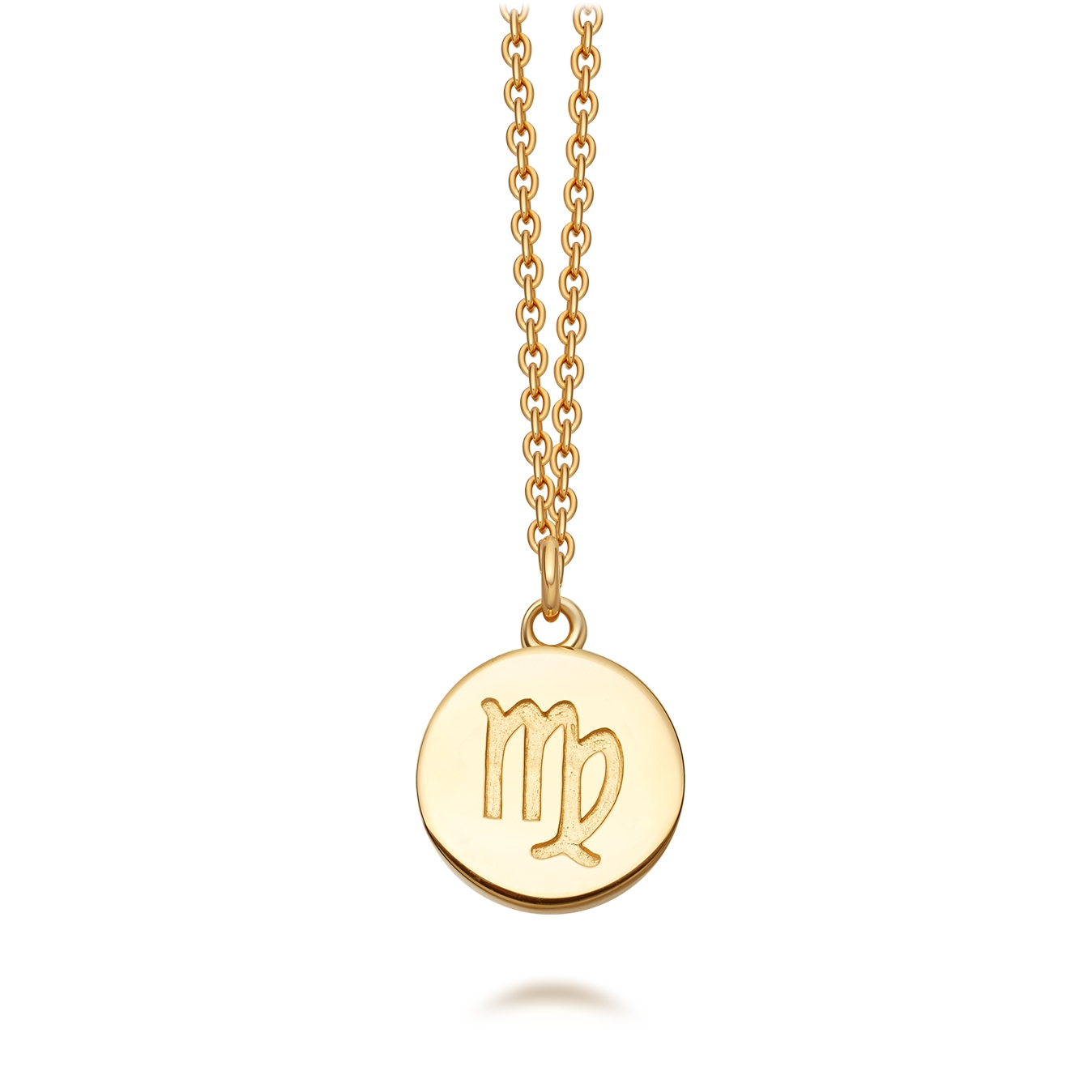 Gold Virgo Zodiac Biography Pendant Necklace