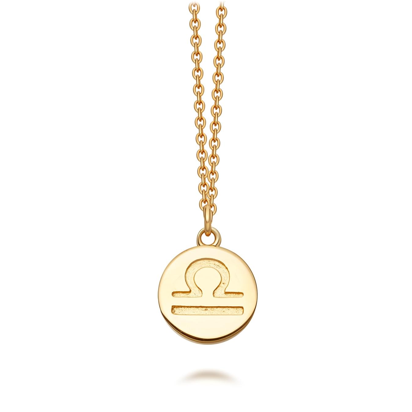 Gold Libra Zodiac Biography Pendant Necklace