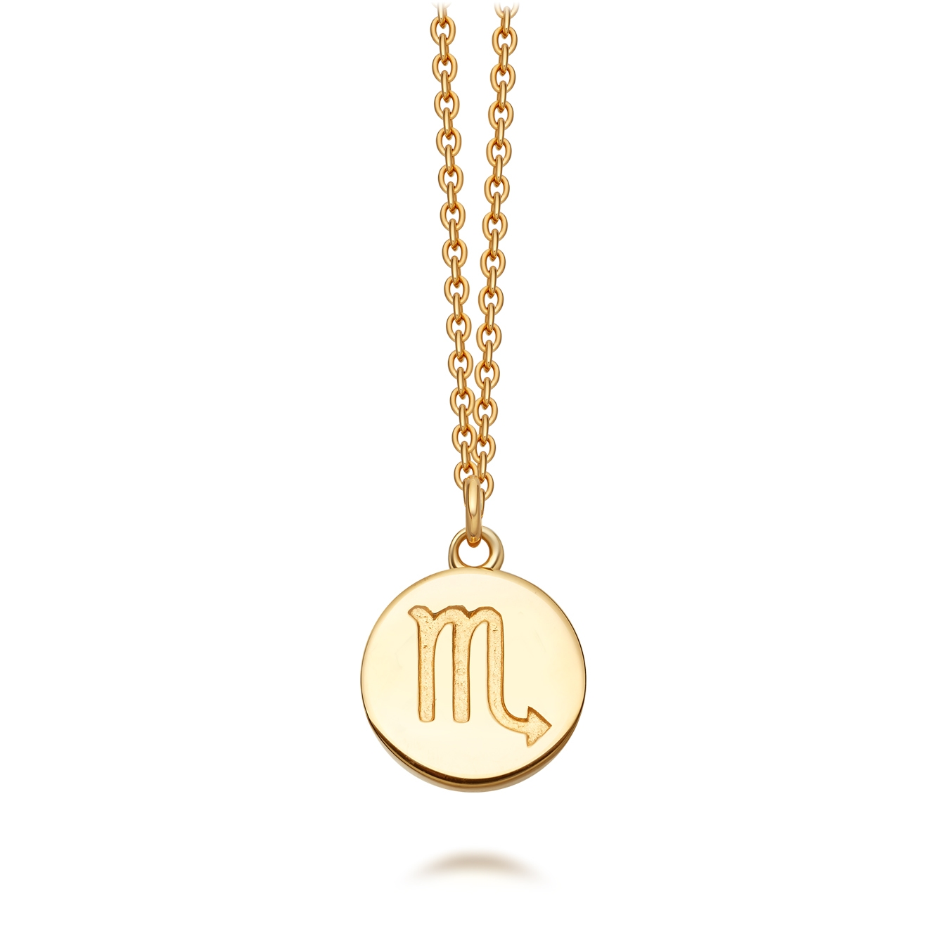 Gold Scorpio Zodiac Biography Pendant Necklace