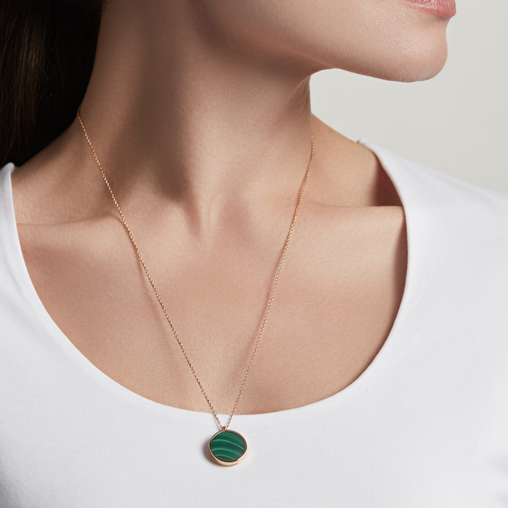 Malachite Slice Stilla Locket Necklace