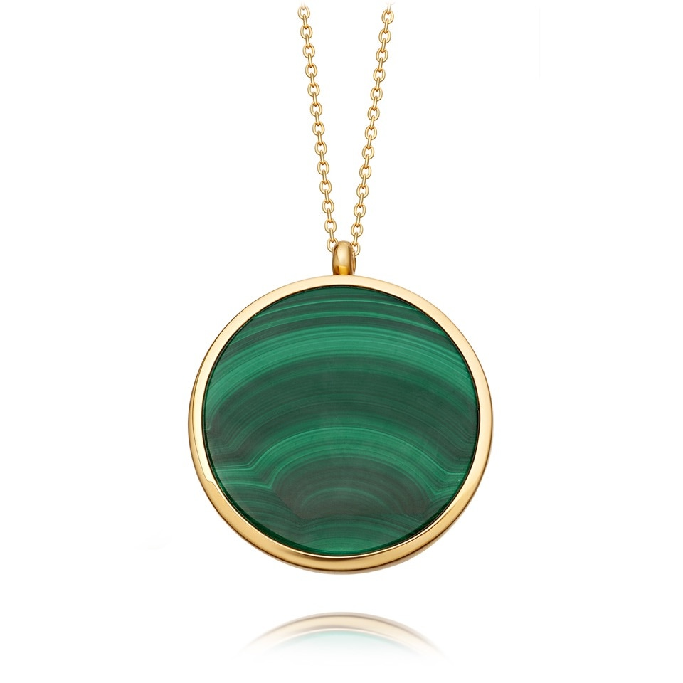 Large Malachite Slice Stilla Locket Necklace