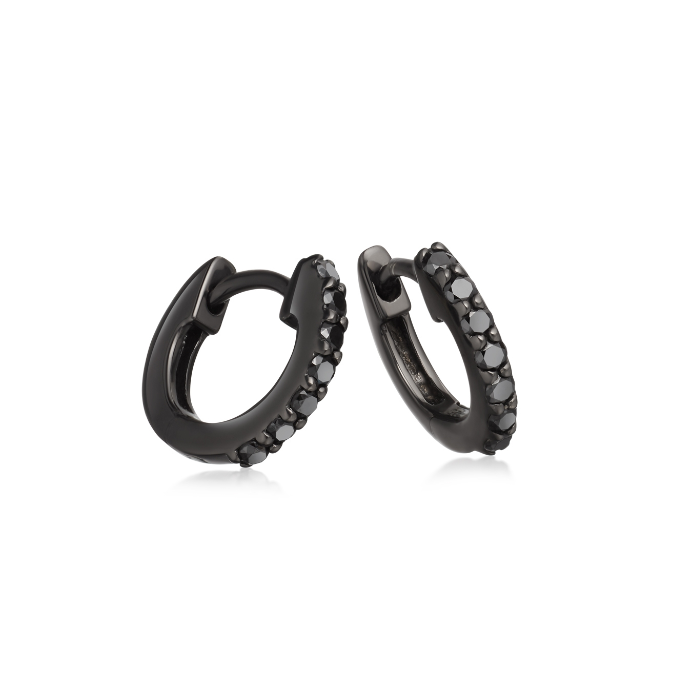 Mini Halo Black Diamond Hoop Earrings