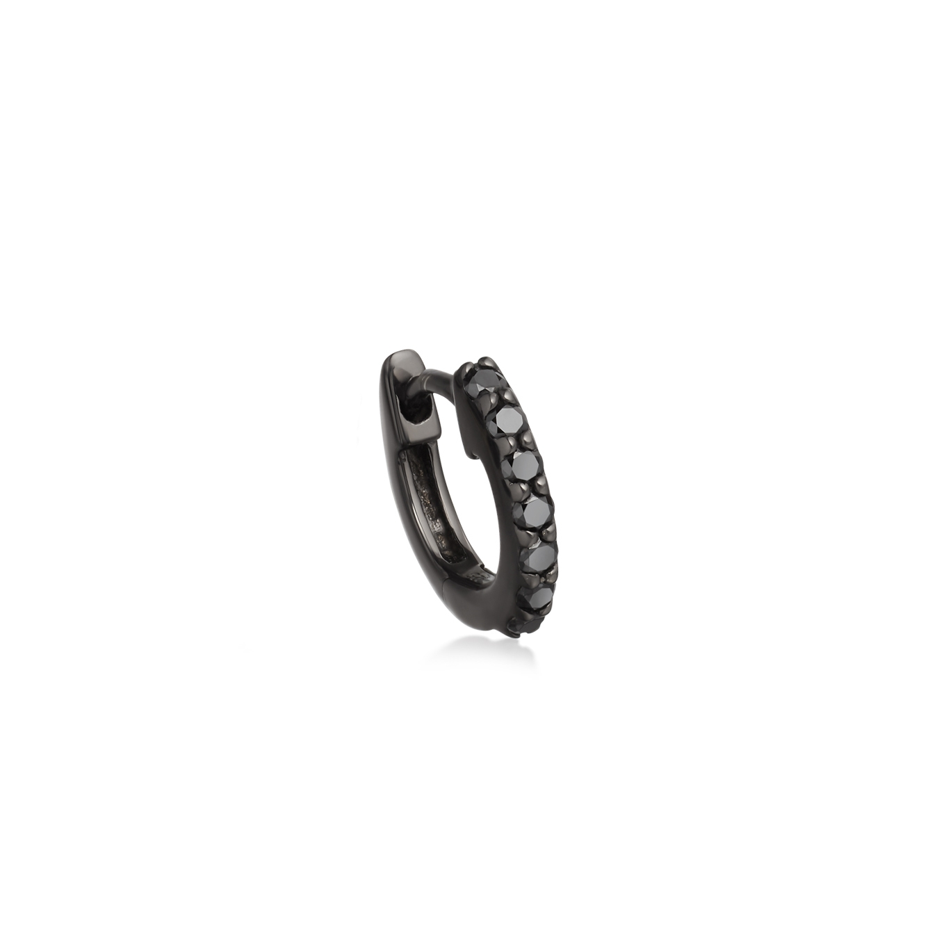 Mini Halo Black Diamond Hoop Single Earring