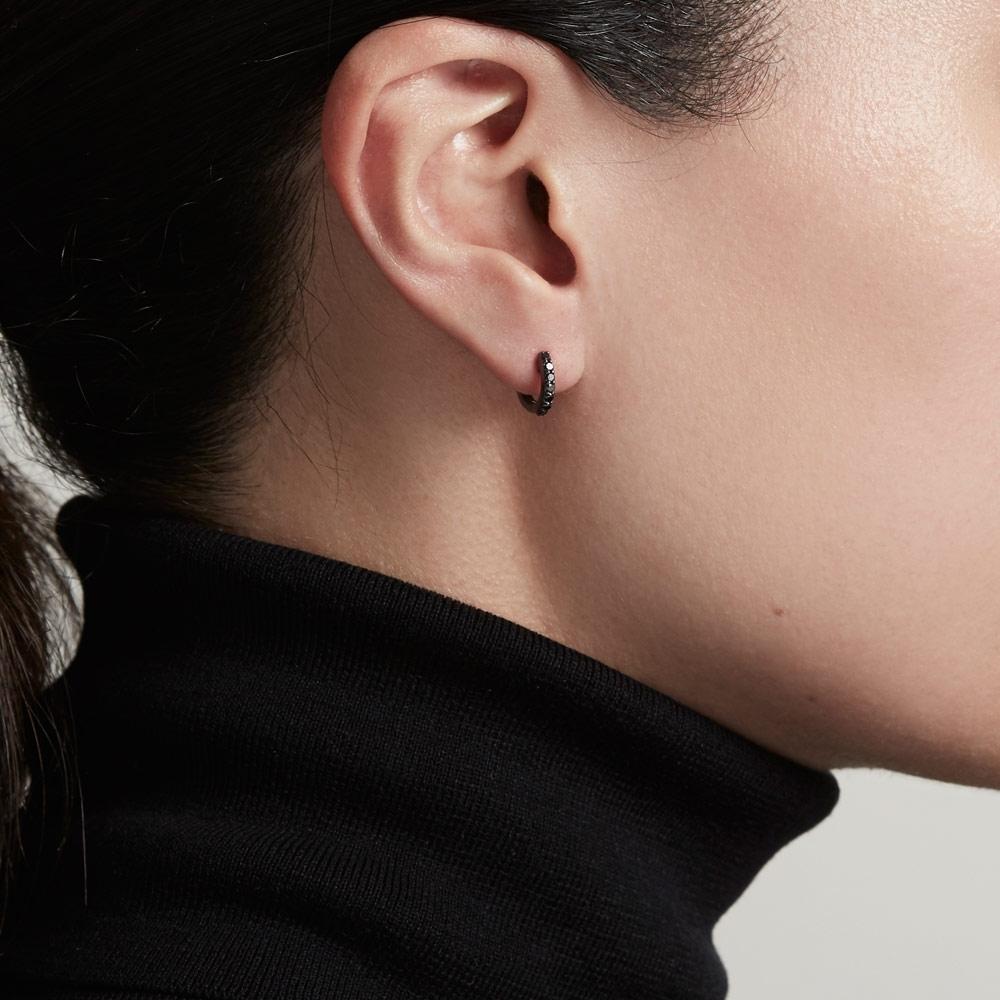 Mini Halo Black Diamond Hoop Single Earring