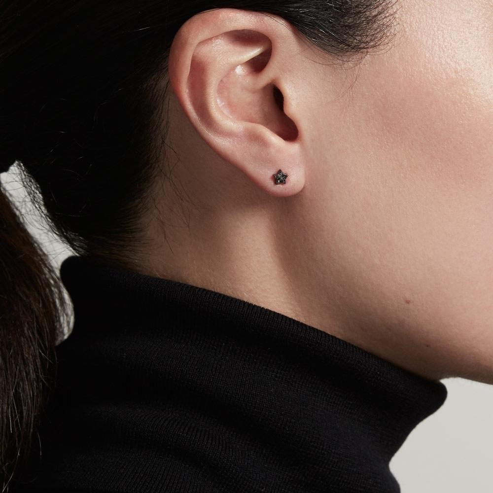 Tiny Star Black Diamond Stud Earrings