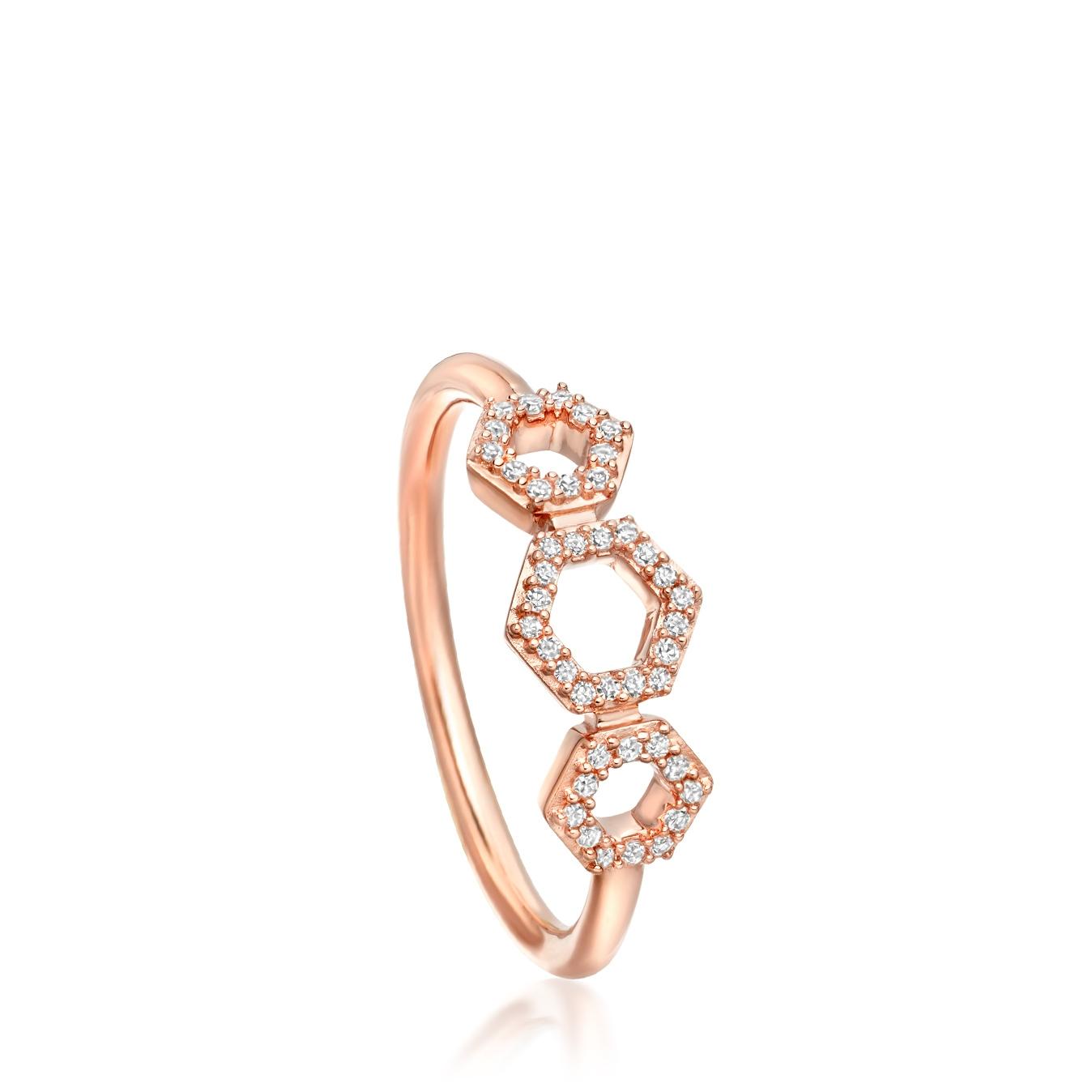 Triple Honeycomb Diamond Ring