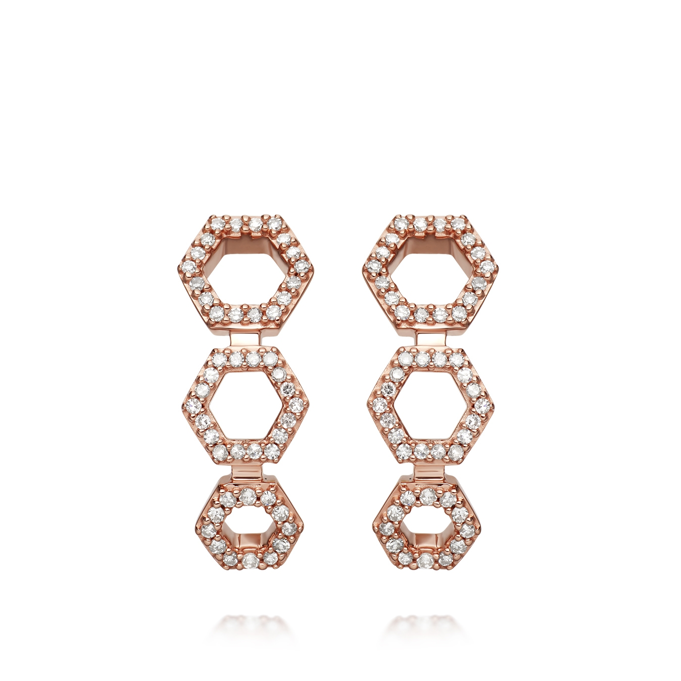 Triple Honeycomb Stud Earrings