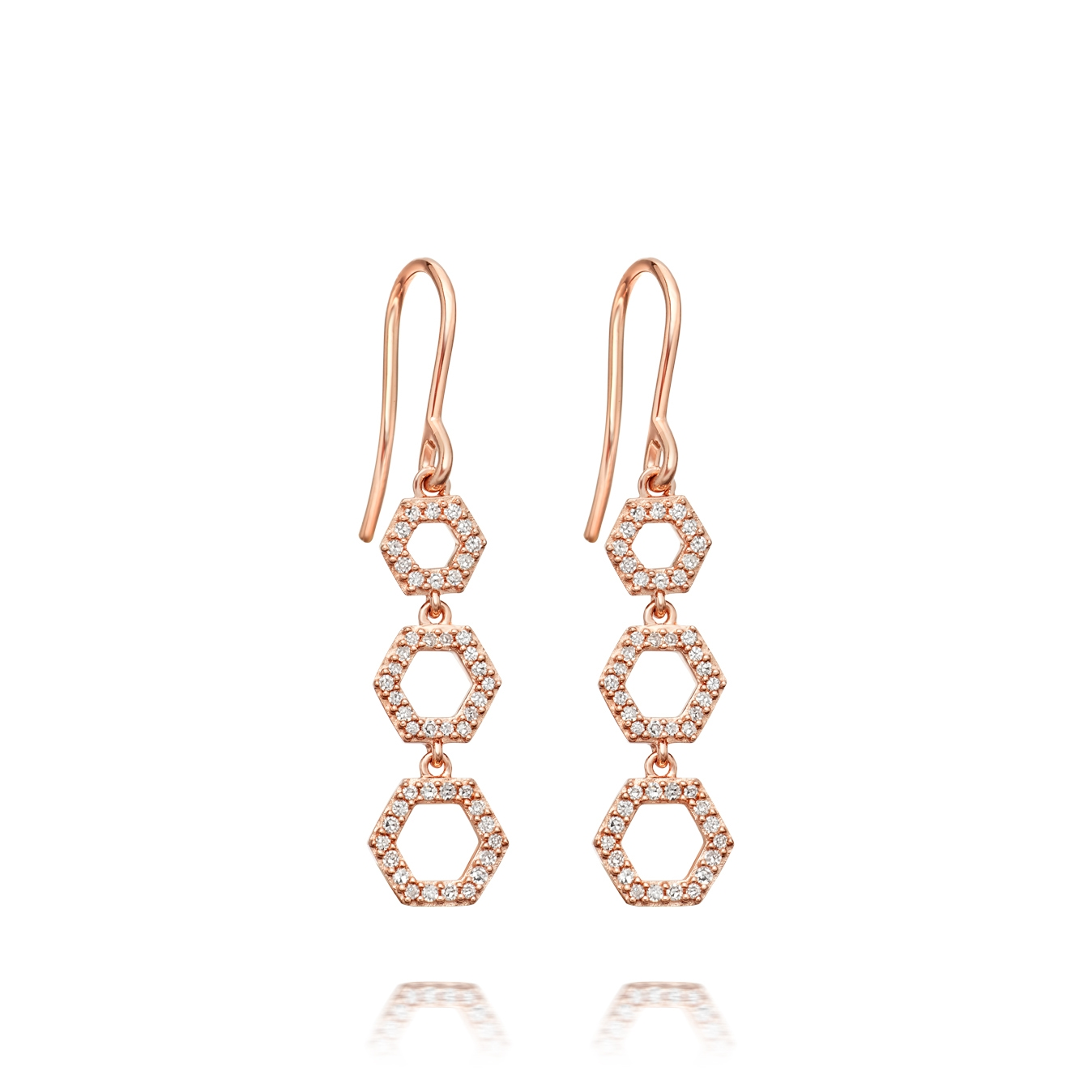 Triple Honeycomb Diamond Drop Earrings