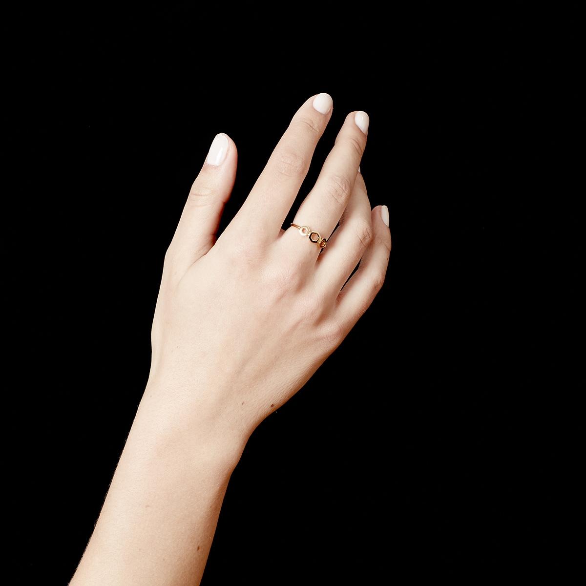 Plain Triple Honeycomb Ring