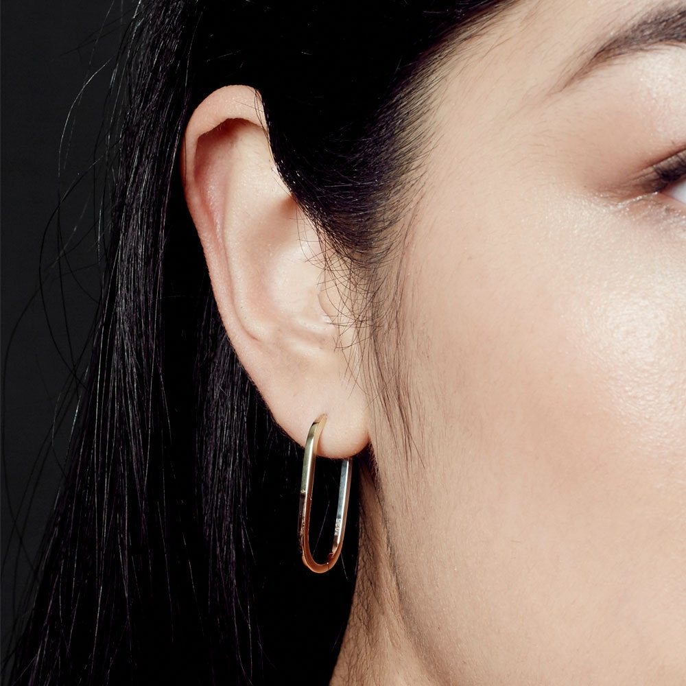 Tri-Piet Oval Hoop Earrings