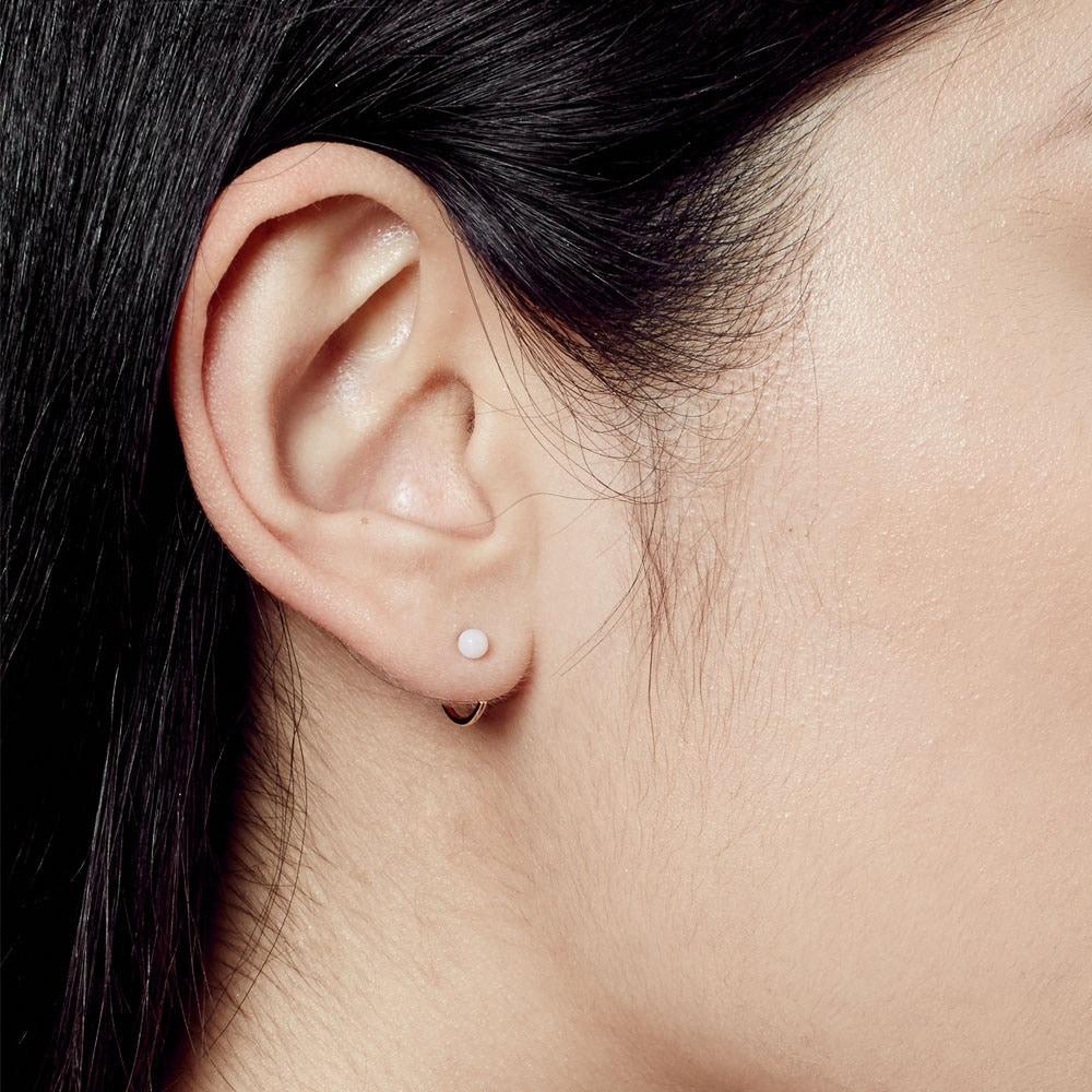 Pink Opal Ezra Stud Hoop Earrings