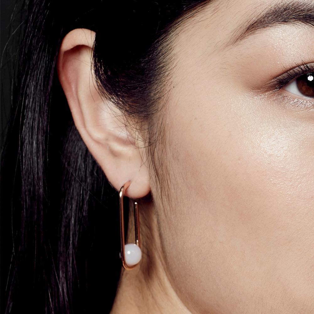 Marcel Oval Pink Opal Hoop Earrings