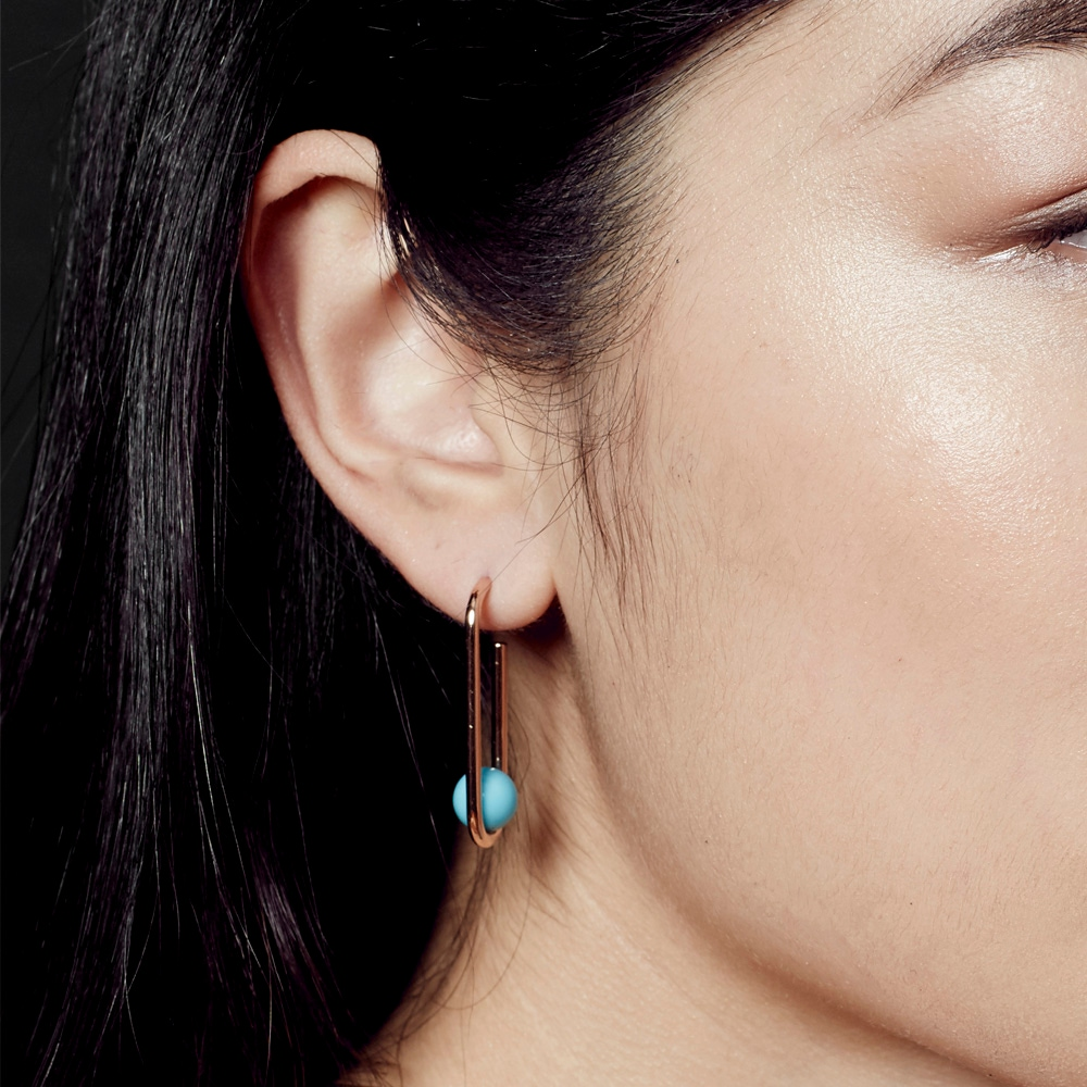 Marcel Turquoise Oval Hoop Earrings
