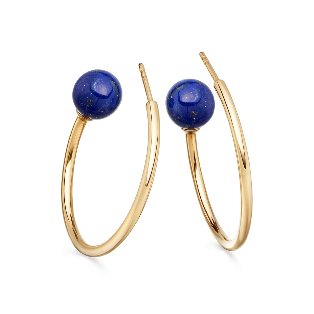 Lapis Ezra Hoop Earrings