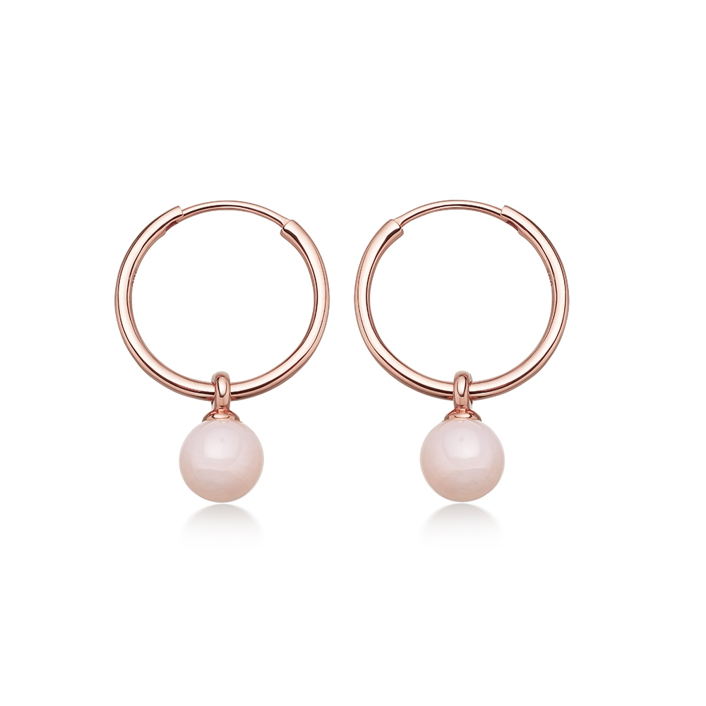 Pink Opal Vera Drop Hoop Earrings